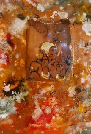 Santiago Rodriguez Olazabal, iré otónówa, gem. techniek op papier 1998, 178x90 cm