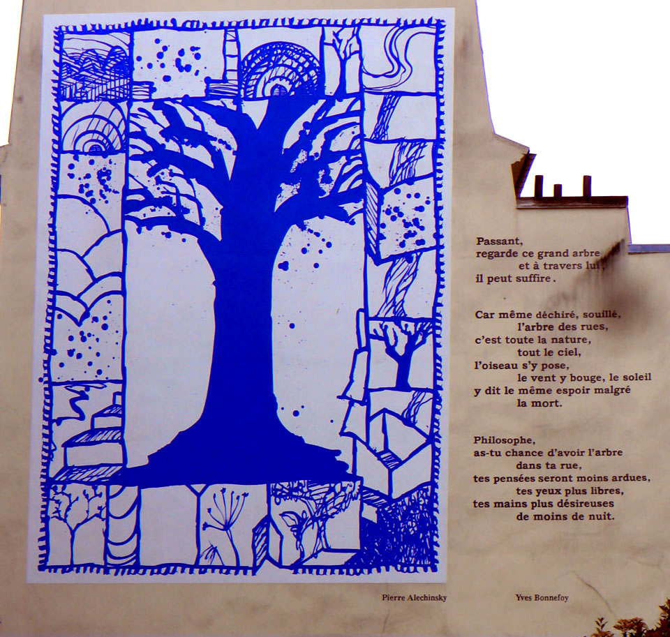 alechinsky tekst arbre bleu mural